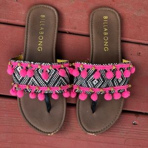 BILLABONG sandals slides w/ pink pom pom